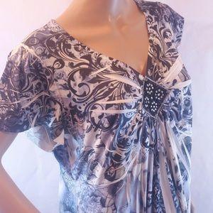 Apt 9 elegant soft stretch beaded v-neck blouse 1X